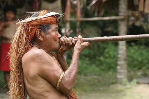 Indígena americano operando una cerbatana con dardos impregnados de curare