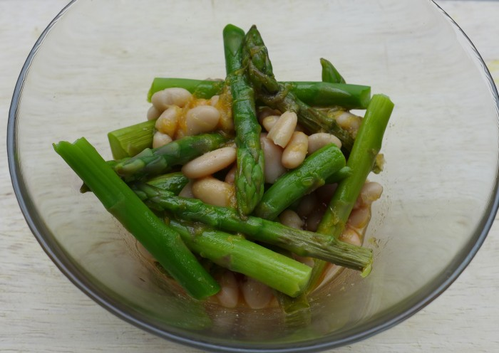 white bean and asparagus salad with citrus miso dressing