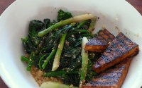 Japanese wilted kale salad with BBQ tofu