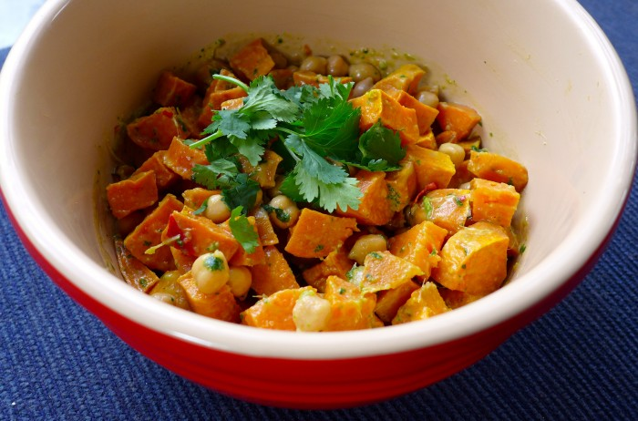 chickpea and roasted sweet potato salad with a thai coconut dressing