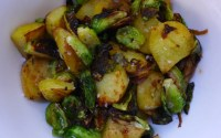 fried brussels sprouts and potatoes with caramelised onions