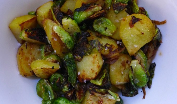 fried brussels sprouts and potatoes