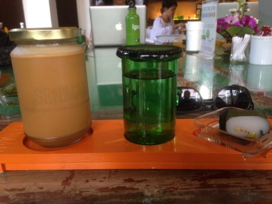 coconut iced coffee, water, steamed rice cake