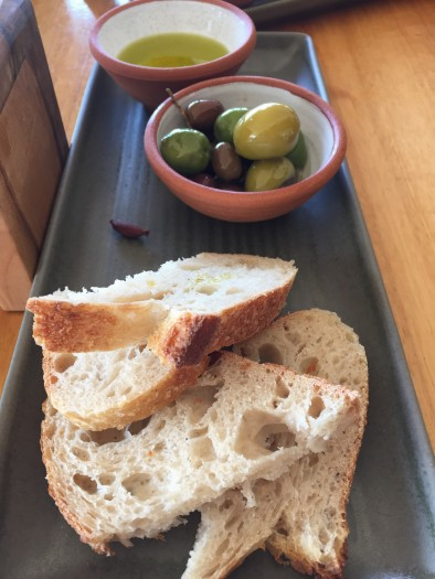 warm olives and bread