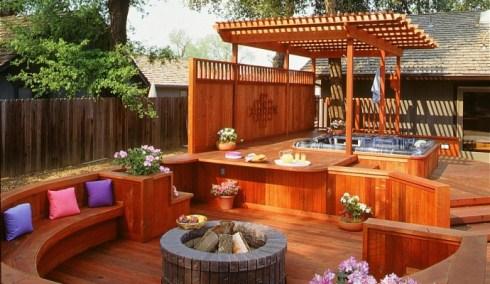 Hot tub cedar deck