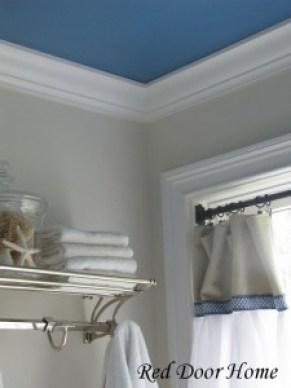 Painting Bathrooms - blue ceiling - quinju.com