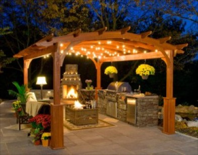 outdoor kitchens - with fireplace - quinju.com