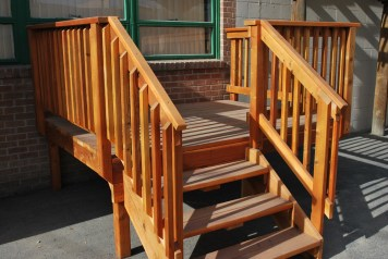 cedar steps with wood balisters