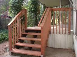 handrails on wood deck