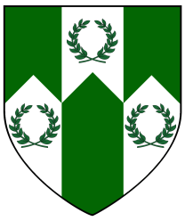 Per fess indented of three points vert and argent, on a pale between in base two laurel wreaths, in chief a laurel wreath, all counterchanged.