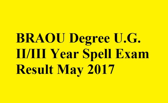 BRAOU Degree U.G. 2nd/3rd Year Spell Exam Result May 2017