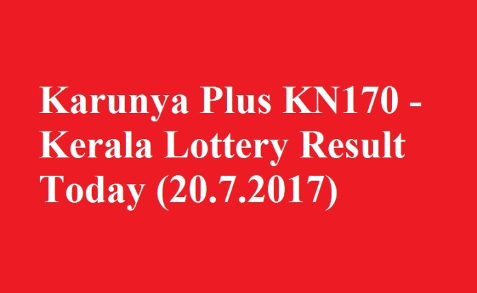 Karunya Plus KN170 - Kerala Lottery Result Today (20.7.2017)