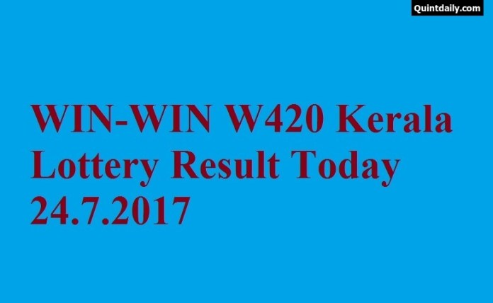 WIN WIN W420 Kerala Lottery Result Today 24.7.2017