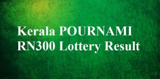Kerala POURNAMI RN300 Lottery Result