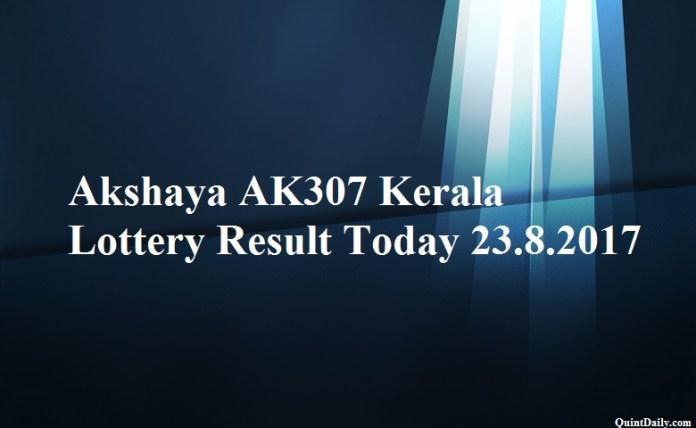 Akshaya AK307 Kerala Lottery Result Today 23.8.2017