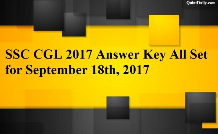 SSC CGL 2017 Answer Key