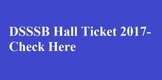 DSSSB Hall Ticket 2017
