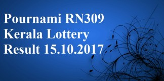 Pournami RN309 Kerala Lottery Result 15.10.2017