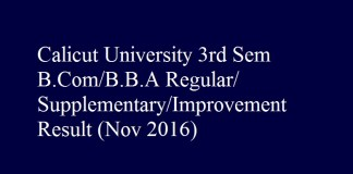 Calicut University 3rd Sem B.Com B.B.A Regular Supplementary Improvement Result Nov 2016