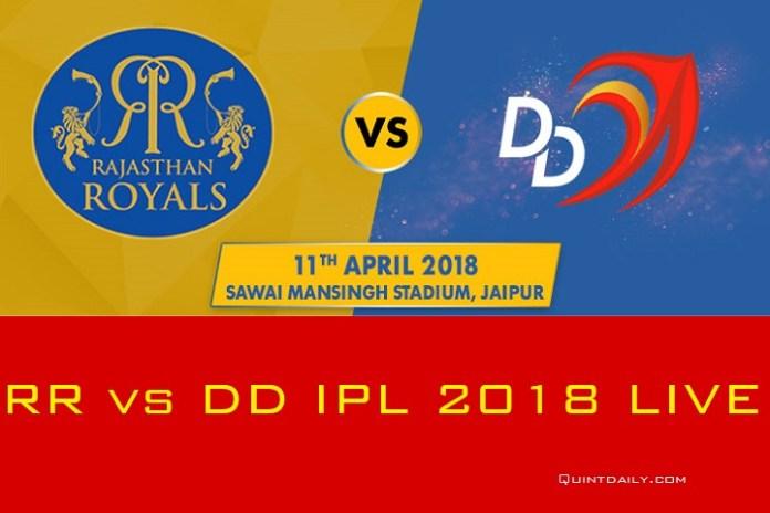 RR vs DD IPL 2018 LIVE Score Match Prediction Results