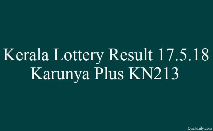 Karunya Plus KN213 Kerala Lottery Result 17.5.2018