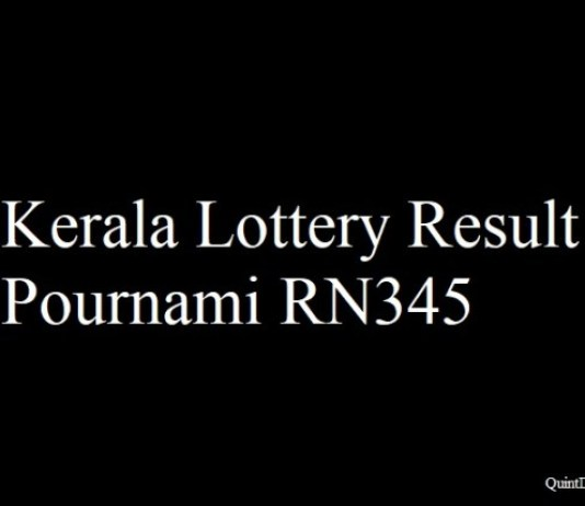 Kerala Lottery Result 24.5.2018 Pournami RN345