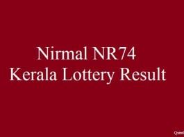 Nirmal NR74 Kerala Lottery Result 22.6.2018 Friday