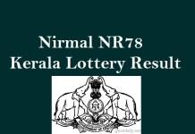 Nirmal NR78 Kerala Lottery Result