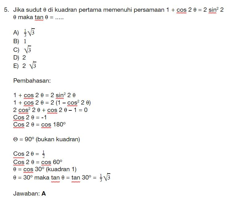Pada buku matematika ipa kelas xi penerbit esis penulis sulistiyono dan. Contoh Soal Trigonometri