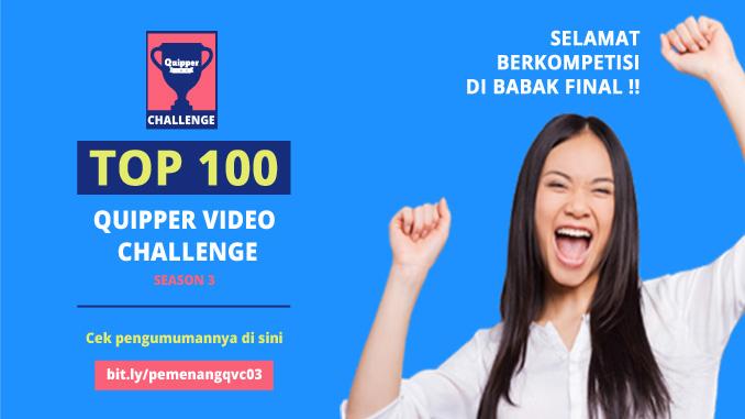 Pengumuman 100 Finalis Quipper Video Challenge Season 3
