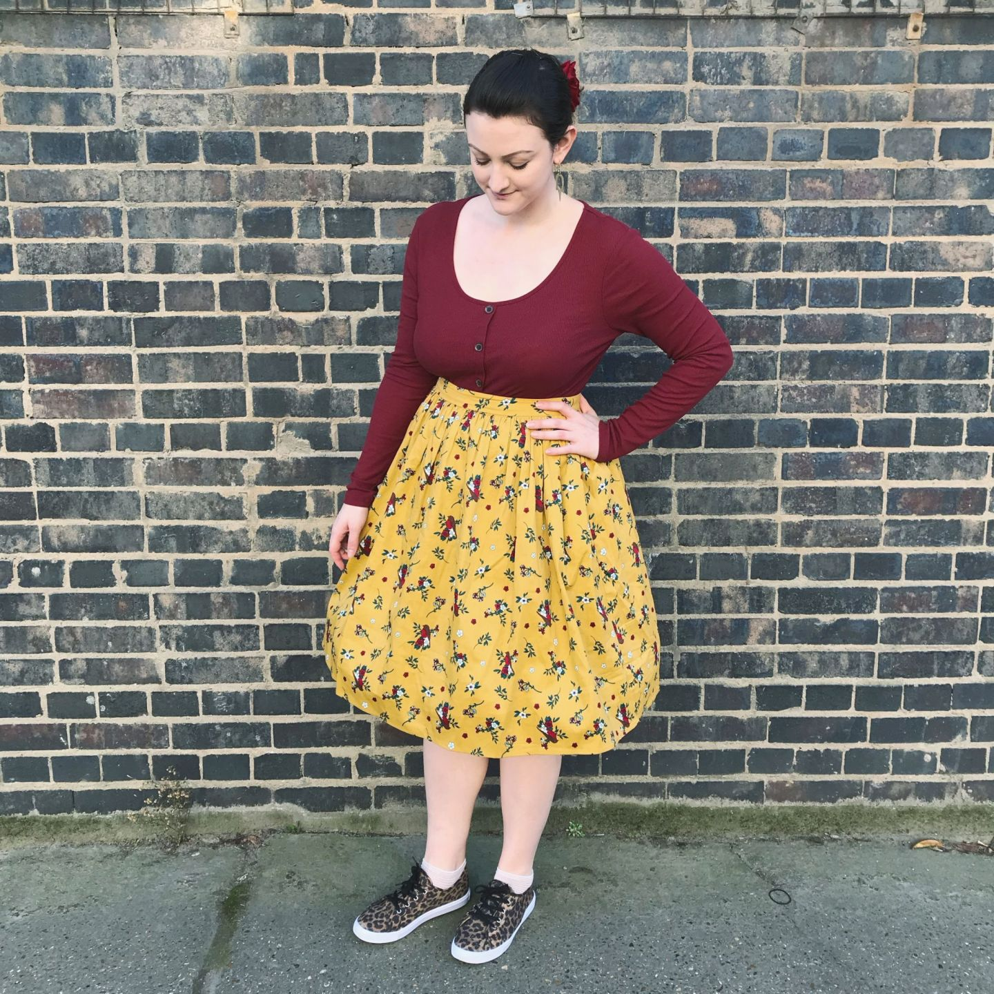 collectif robin print skirt with New Look top and Asos shoes