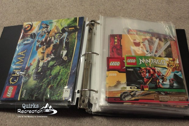 inside LEGO instruction manuals binder organization