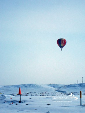 Hot air balloon during a Wyoming winter