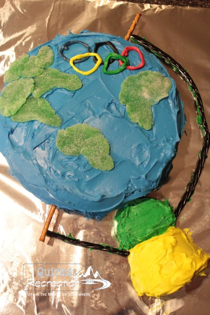 Olympics globe cake - Blue and Gold Banquet