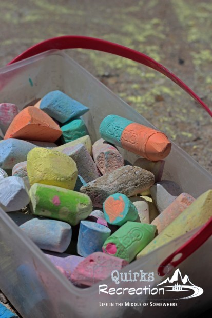 bucket of sidewalk chalk