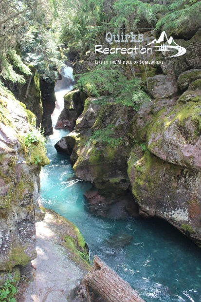 Blue water flowing through the narrows at Avalanche Creek - Glacier National Park