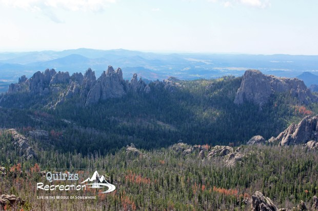 View of Cathedrahp Spires (left), Little Devil's Tower (right) from Harney Peak