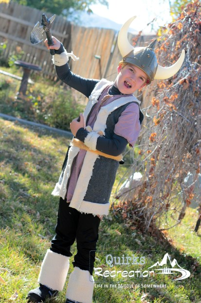 Boy dressed as a Viking for Halloween costume