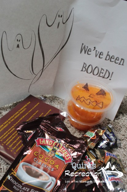 Halloweedn boo bag goodies and candy
