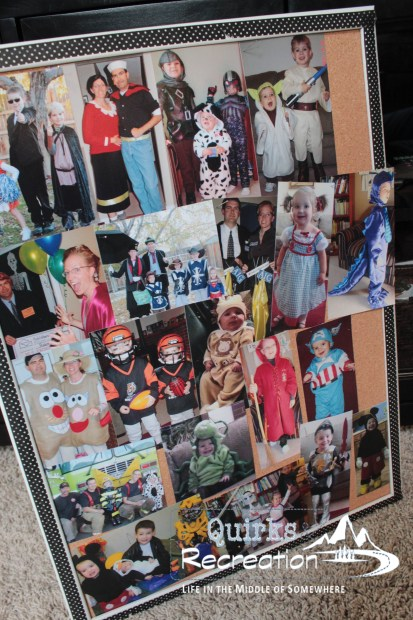 Cork board decorated with photos of kids in Halloween costumes