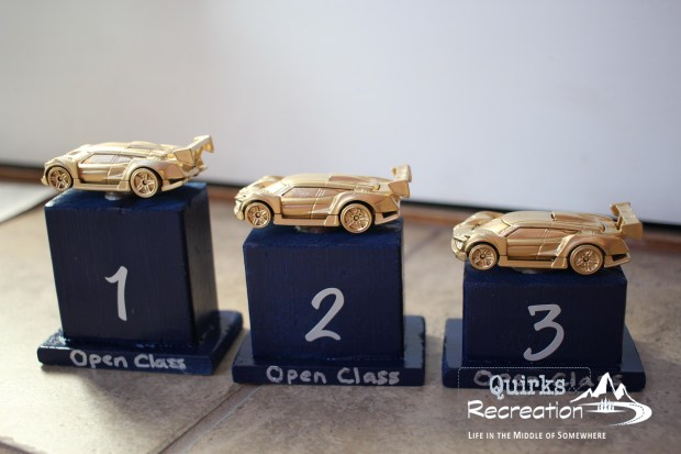 Trophies made from Hot Wheels cars