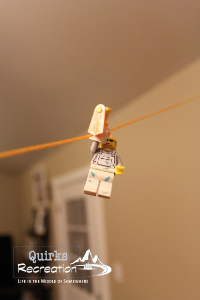 zip lining LEGO minifigure