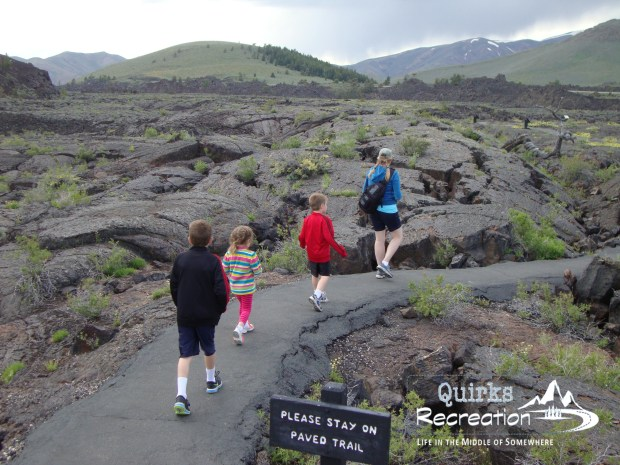 family hiking at Craters of the Moon
