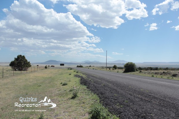 roadside view in New Mexico with Capulin Monument