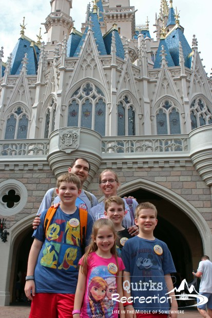 Family portrait behind the castle Disney World