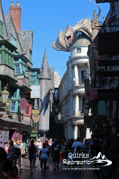 Full street view of Gringotts Bank Universal Studios