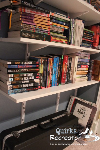 white bookwshelves lined with young adult books