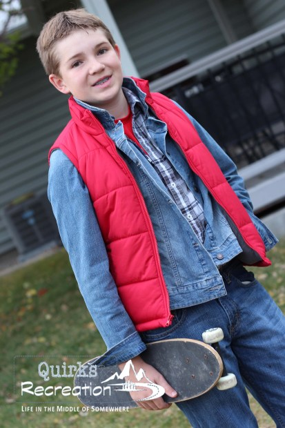 teen boy dressed as Marty McFly from Back to the Future