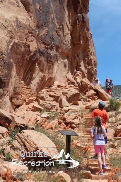hiking to petroglyphs at Dinosaur National Monument