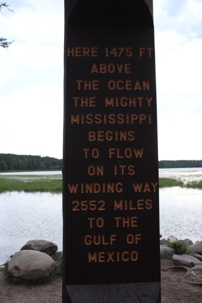 Sign at the beginning of the Mississippi River